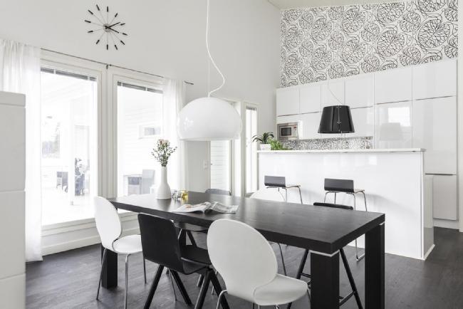 Moderni mustavalkoinen keittiö  Etuovi com Ideat & vinkit