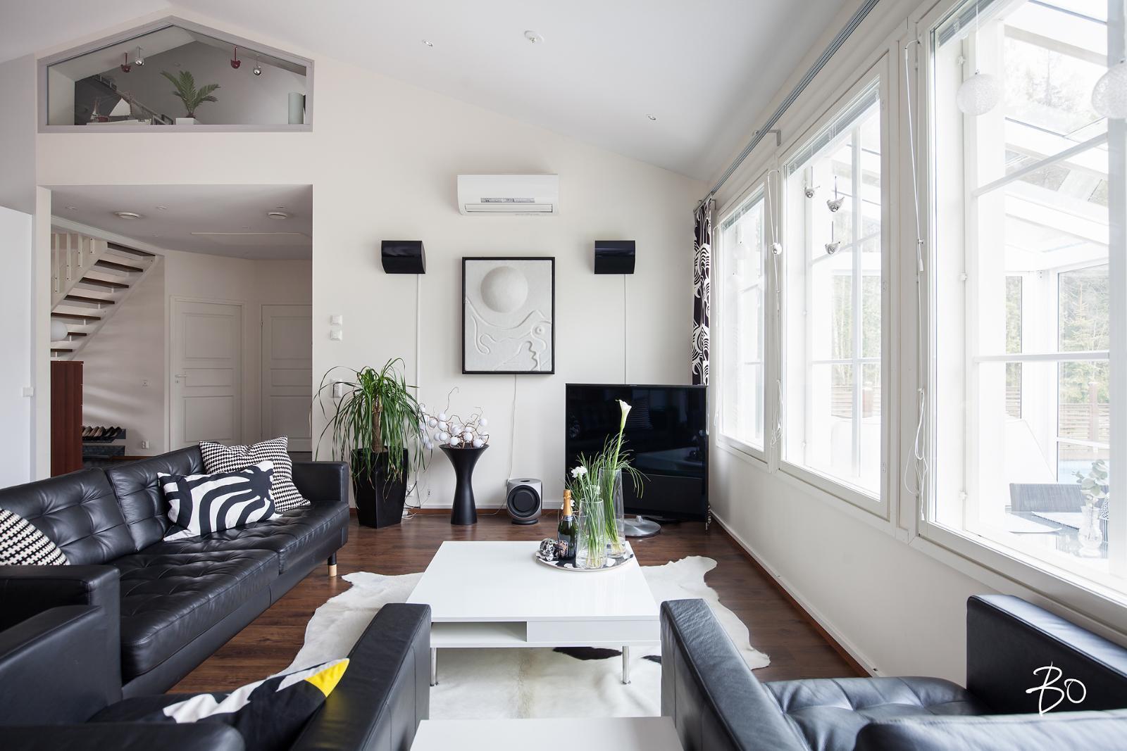 Moderni mustavalkoinen olohuone  Etuovi com Ideat & vinkit