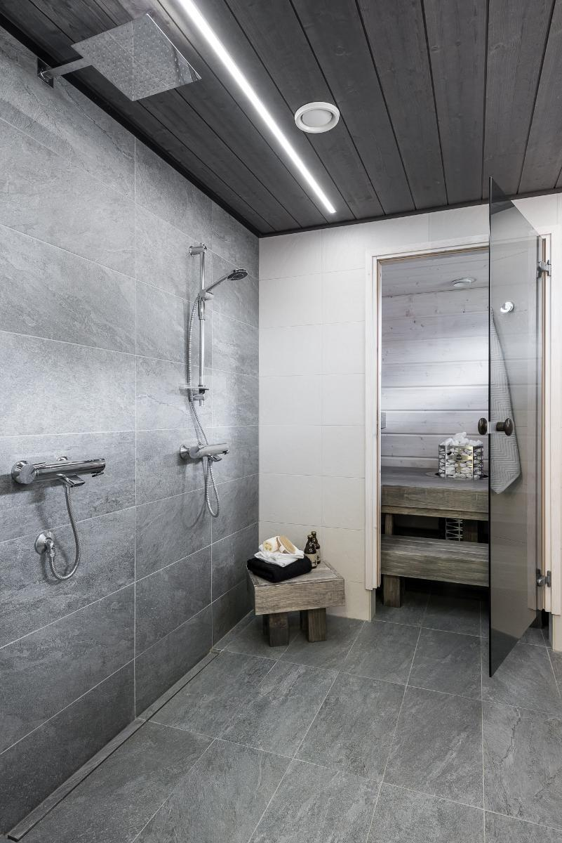 Modernia ilmettä harmaassa kylpyhuoneessa  Etuovi com