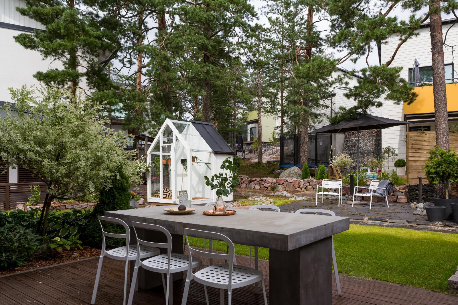 Modernin talon viihtyisä piha  Etuovi com Ideat & vinkit