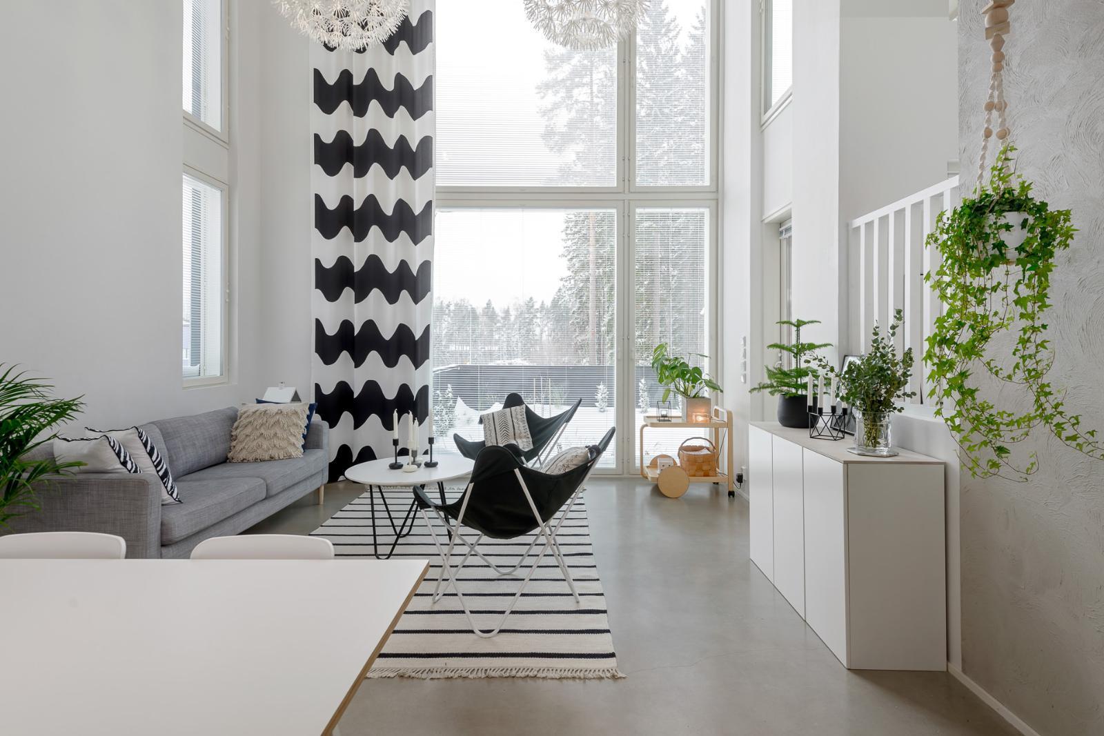 Skandinaavista tyyliä ja betonipintoja olohuoneessa  Etuovi com Ideat &