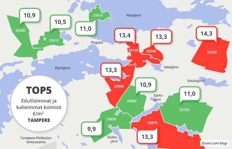 vuokra-asuntojen neliöhinnat kartalla Tampere