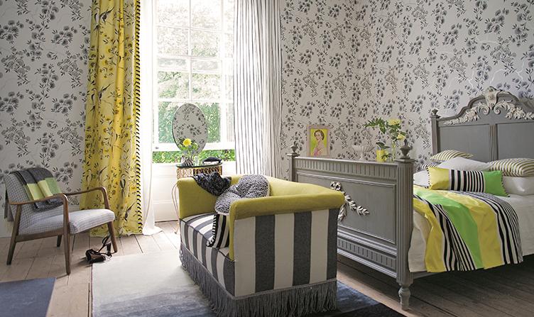 Keltaista makuuhuoneessa - Designers Guild