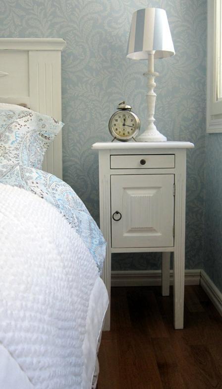 Sinisiä sävyjä makuuhuoneessa