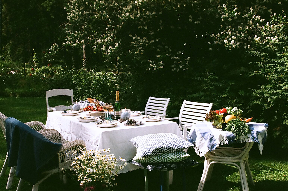 Eriparisia tuoleja puutarhassa