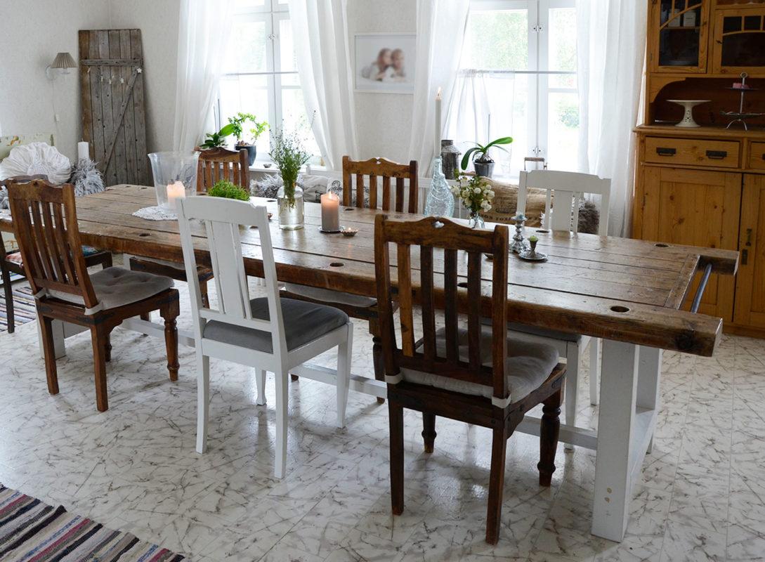ruokailuhuone, ruokapöytä, rustiikkinen, diy