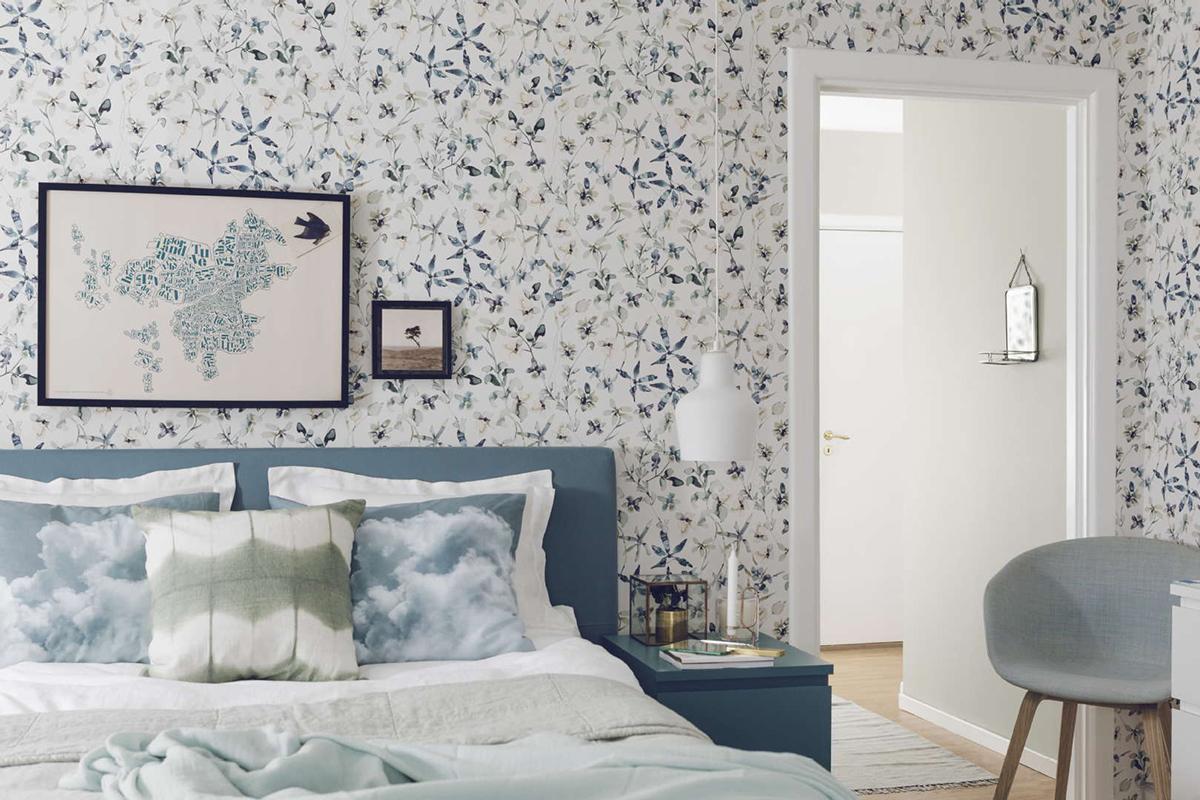 Makuuhuoneen sisustus: Värisilmä: BoråsTapeter Poetry 7108 tapetti