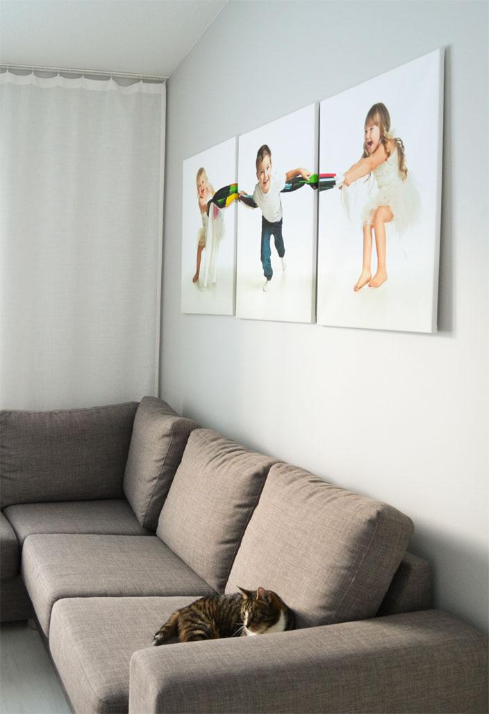 Canvas-taulut ja sohva