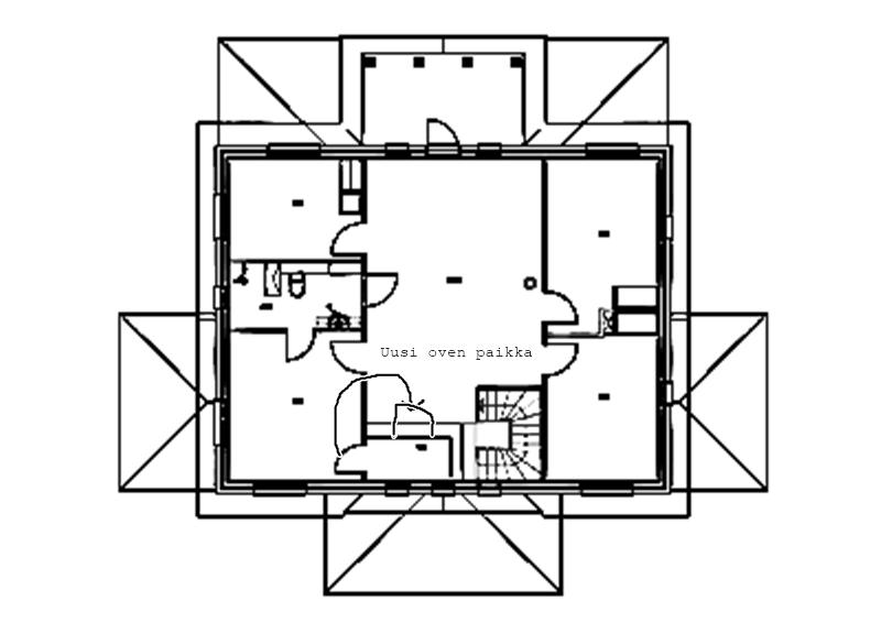 Makuuhuoneen muutos - uusi oven paikka