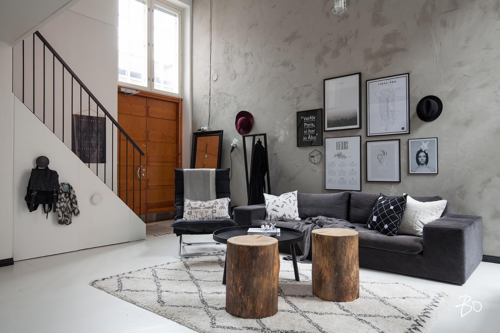 Ihana olohuone loft asunnossa  Etuovi com Ideat & vinkit