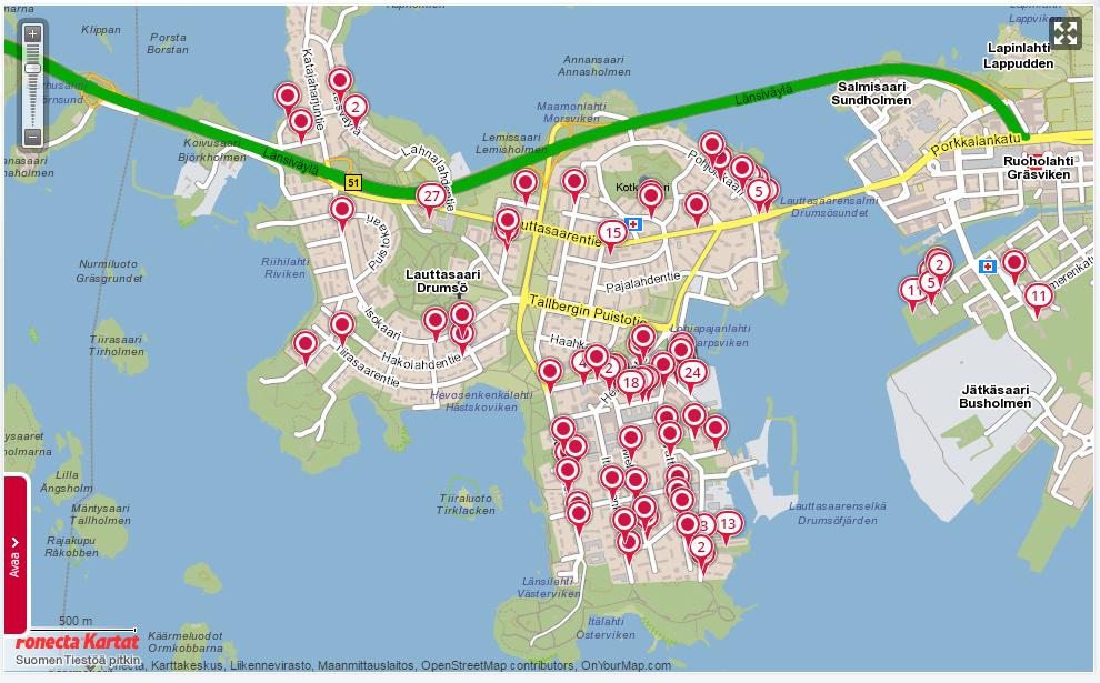 Meilahdenmutsi muuttaa Lauttasaareen, kartta