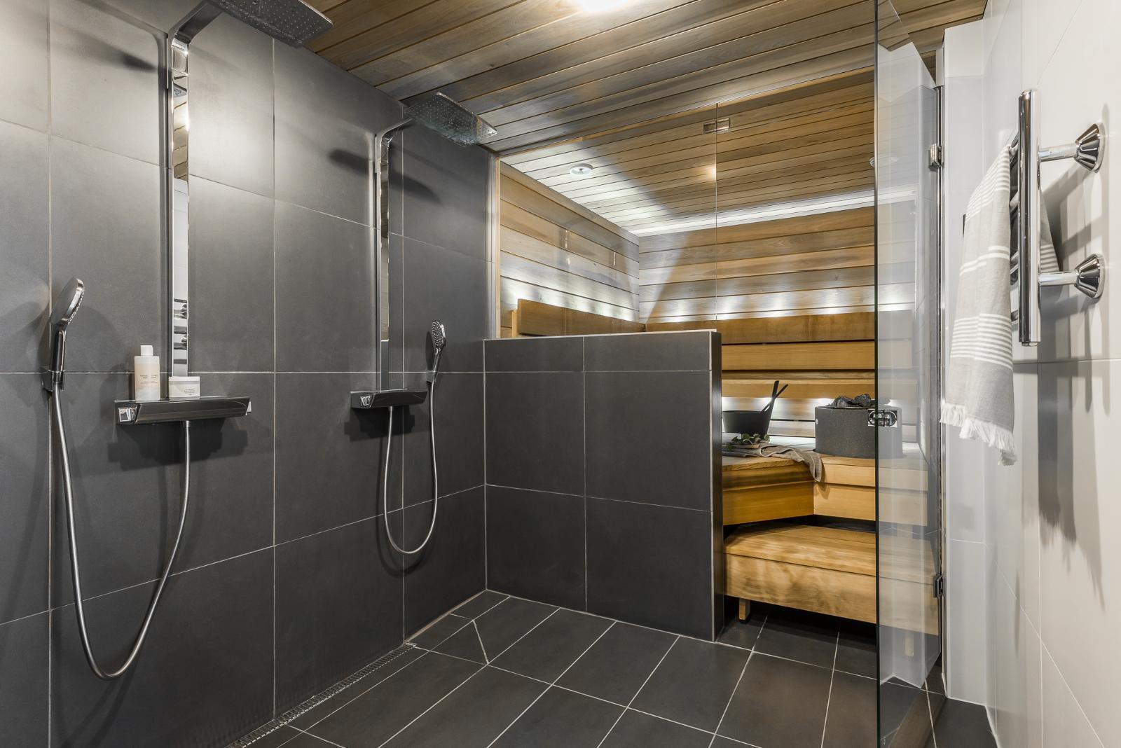 Tyylikäs harmaa kylpyhuone  Etuovi com Ideat & vinkit