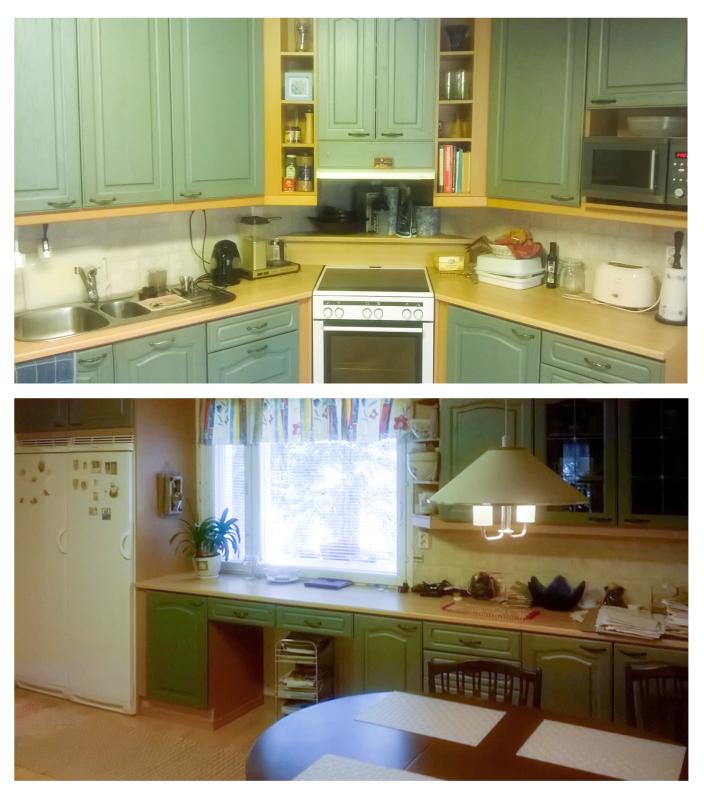 vihreä keittiö ennen remonttia
