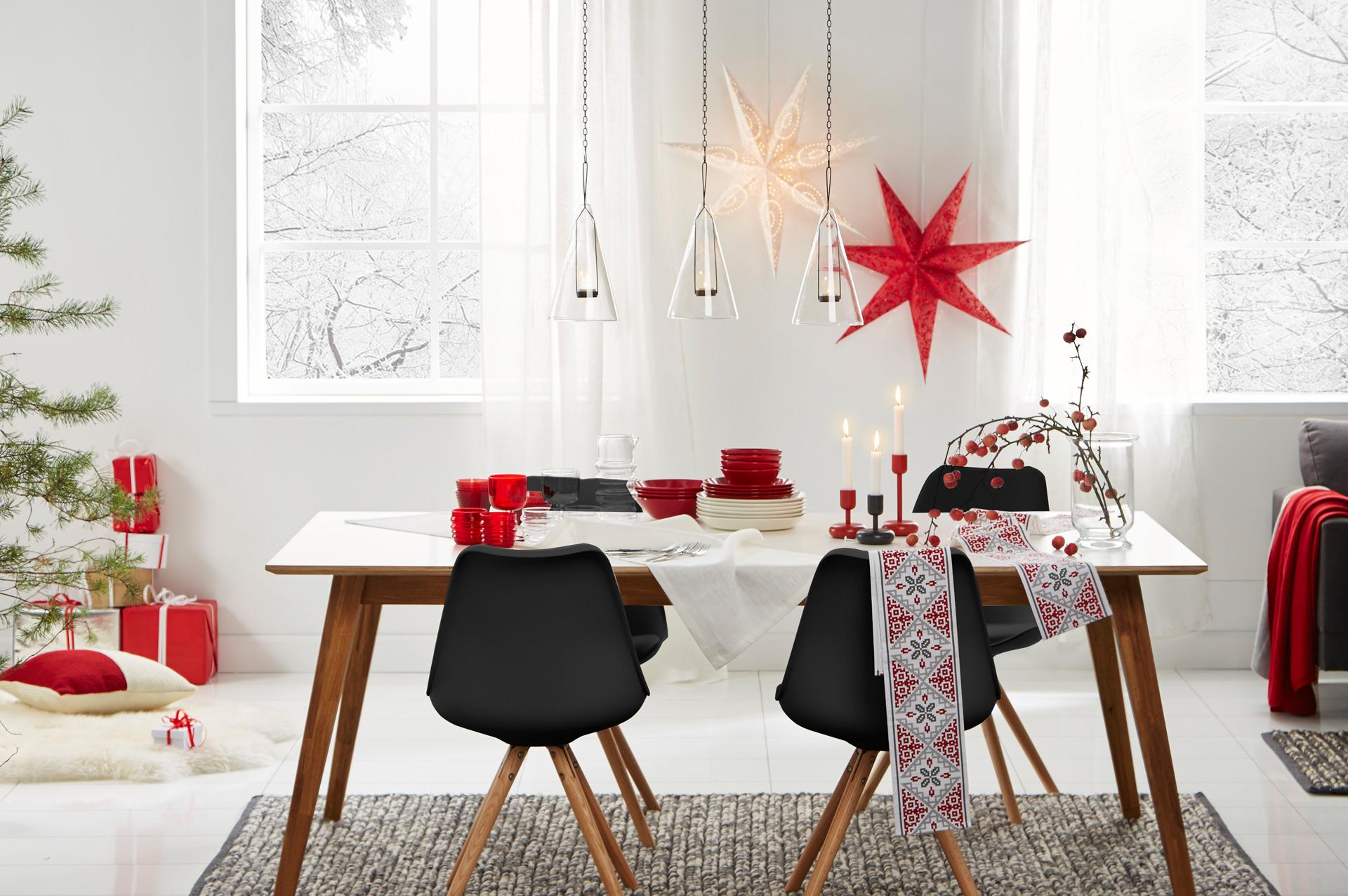 Hobby Hall joulusisustus punaista harmaata ja valkoista