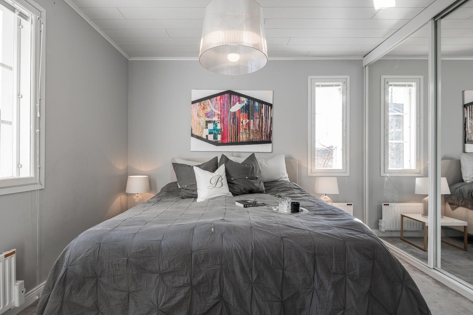 moderni sisustus makuuhuoneessa