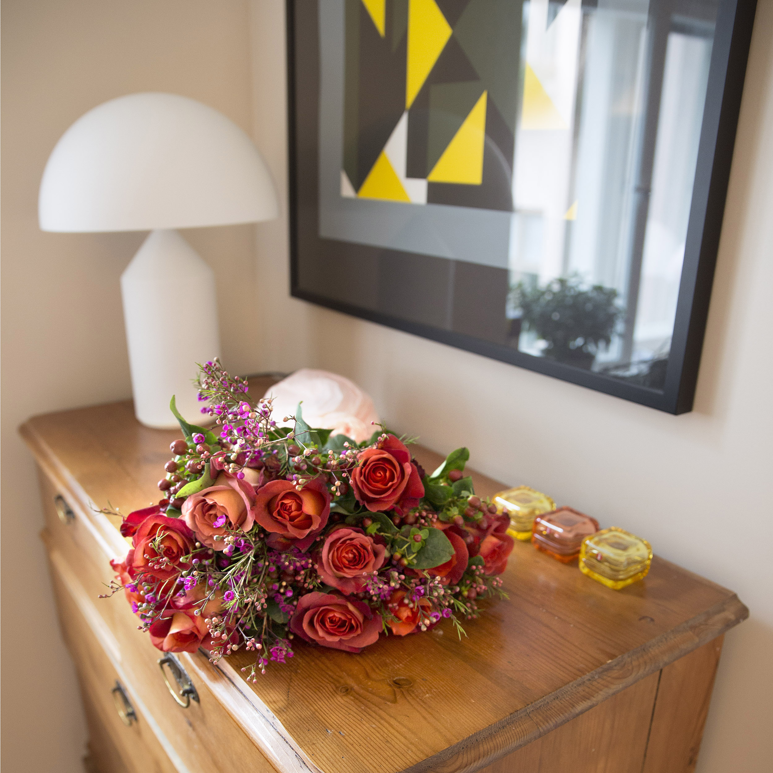 kukkakimppu punaiset ruusut