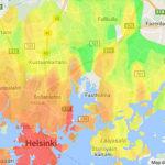 asuntojen hintatiedot lämpökartalla alueittain