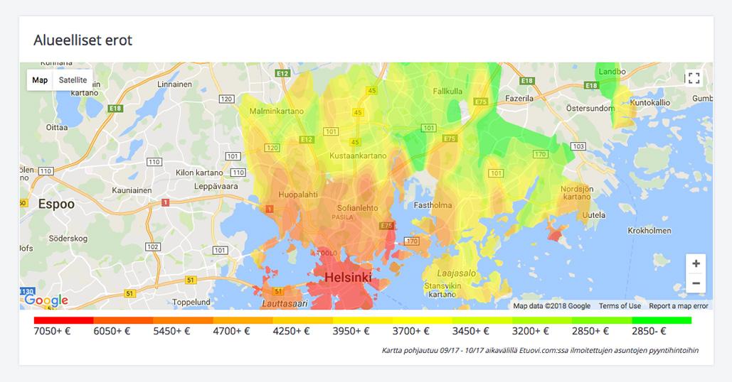heatmap asuntojen hintatiedot