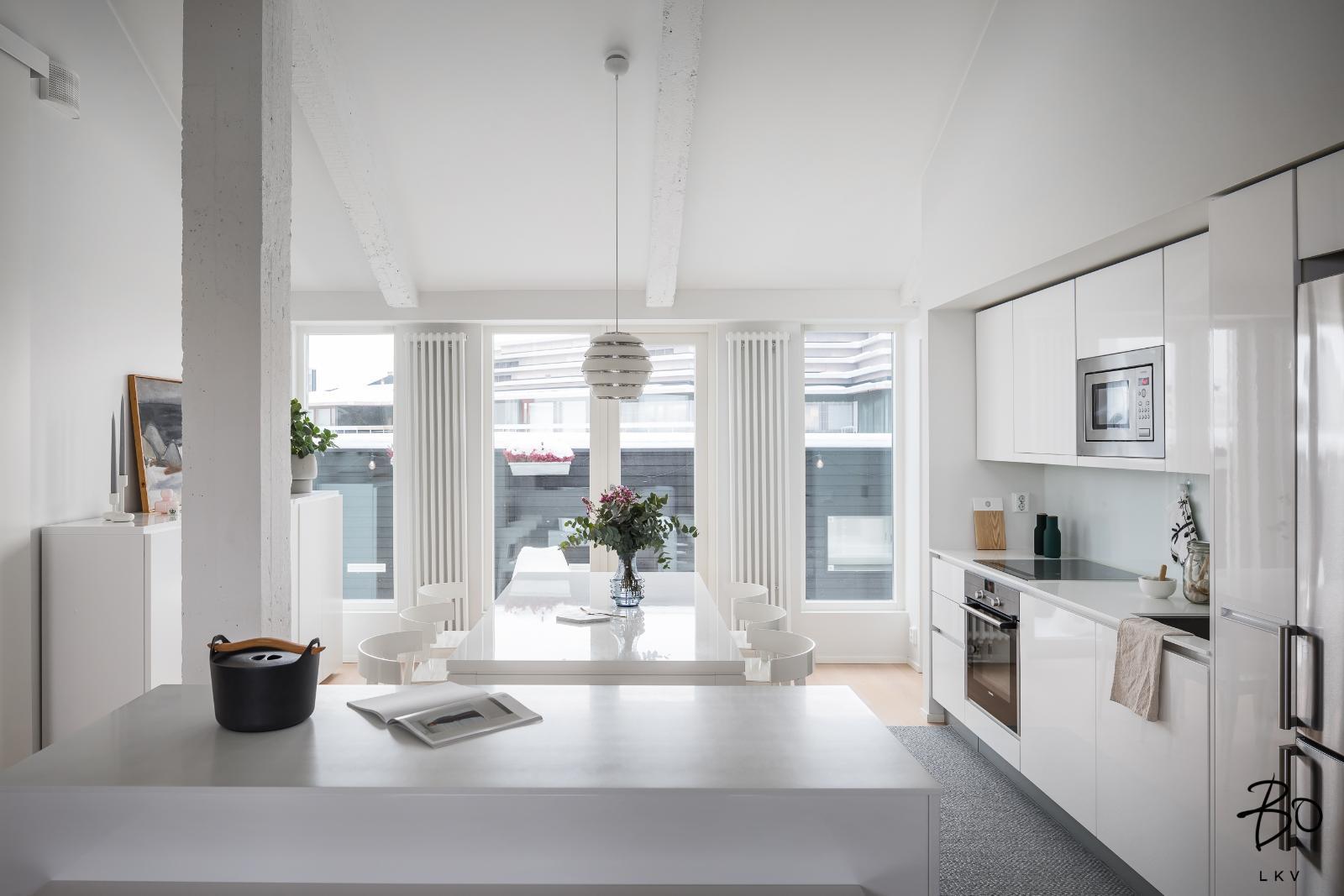 moderni valkoinen keittiö kaunis koti