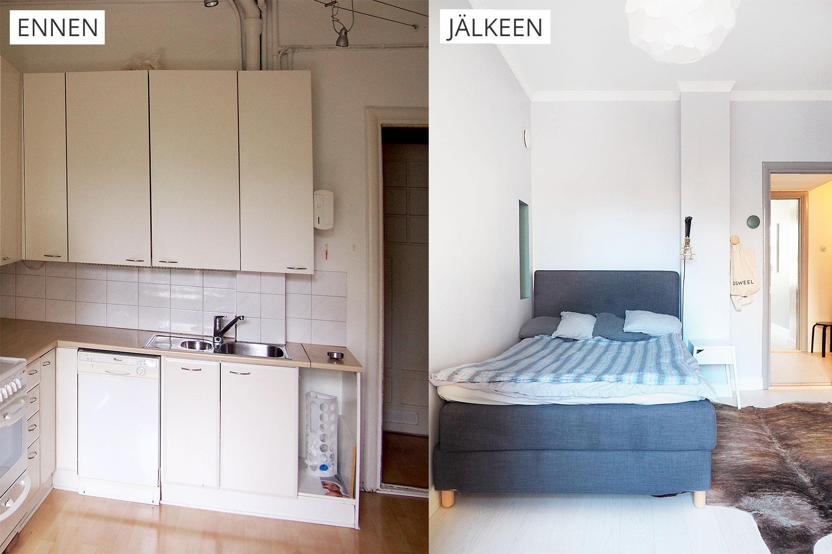 kaksion remontti, keittiö ennen ja jälkeen