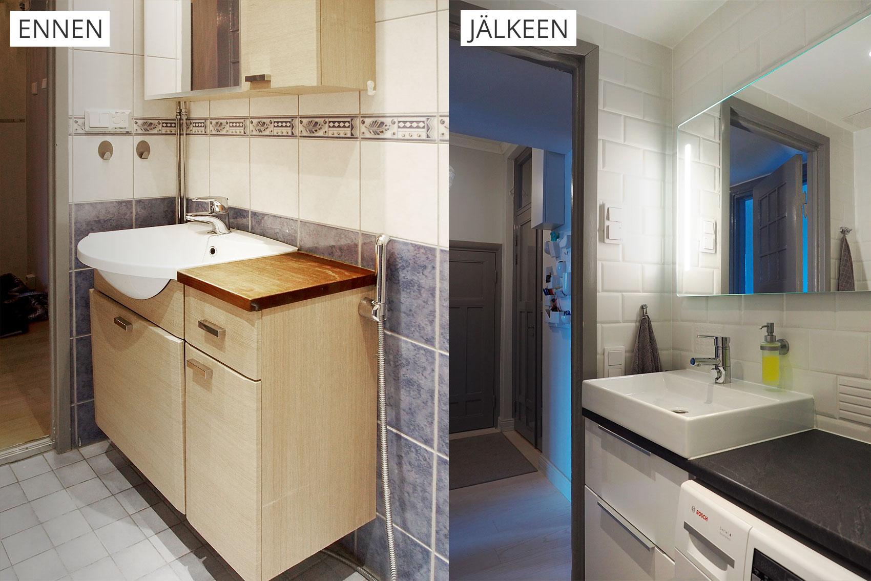 kaksion remontti, kylpyhuone ennen ja jälkeen