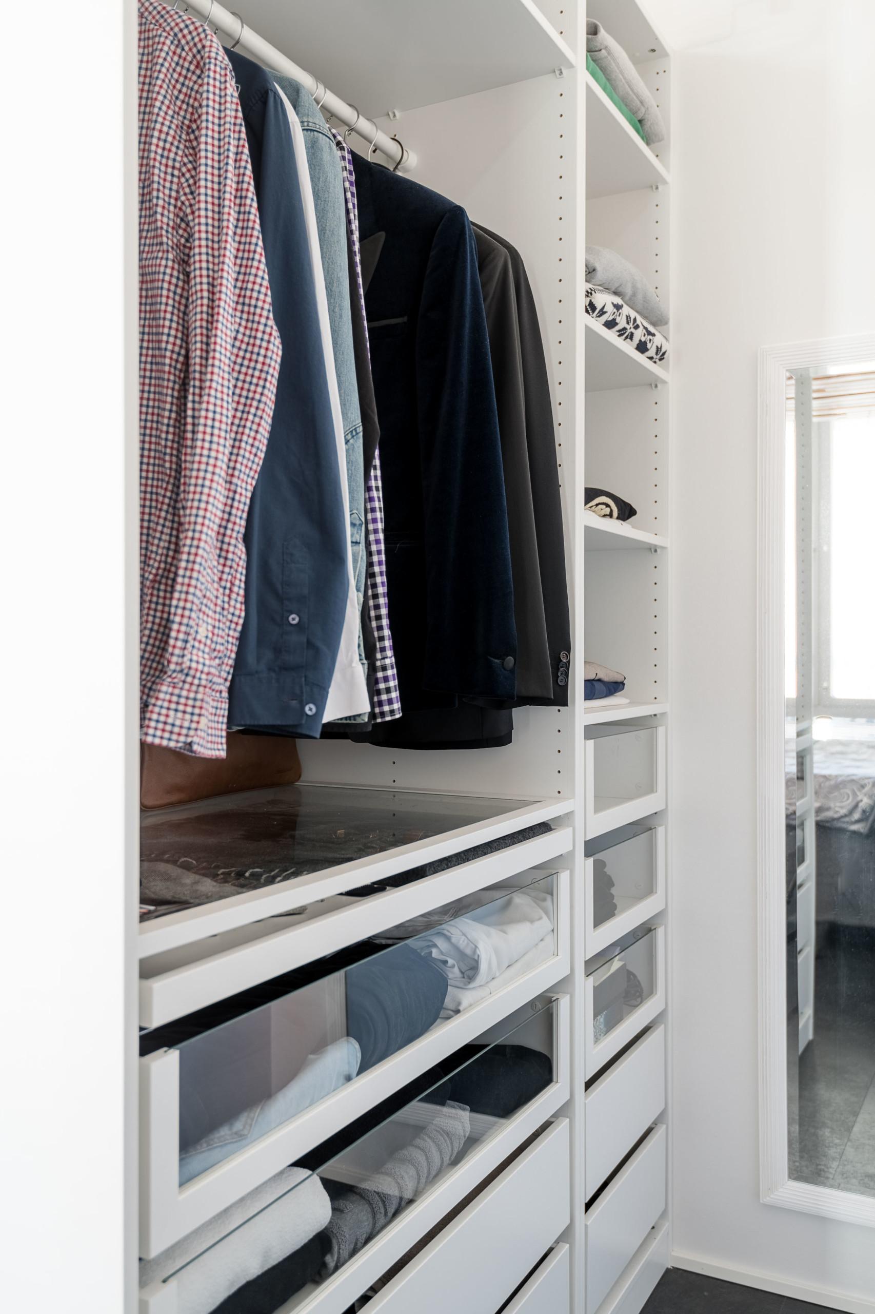 loft asunto, Ikea vaatekaapit ja pukeutumistila