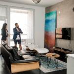 loft asunto, Maija ja Maitham olohuone