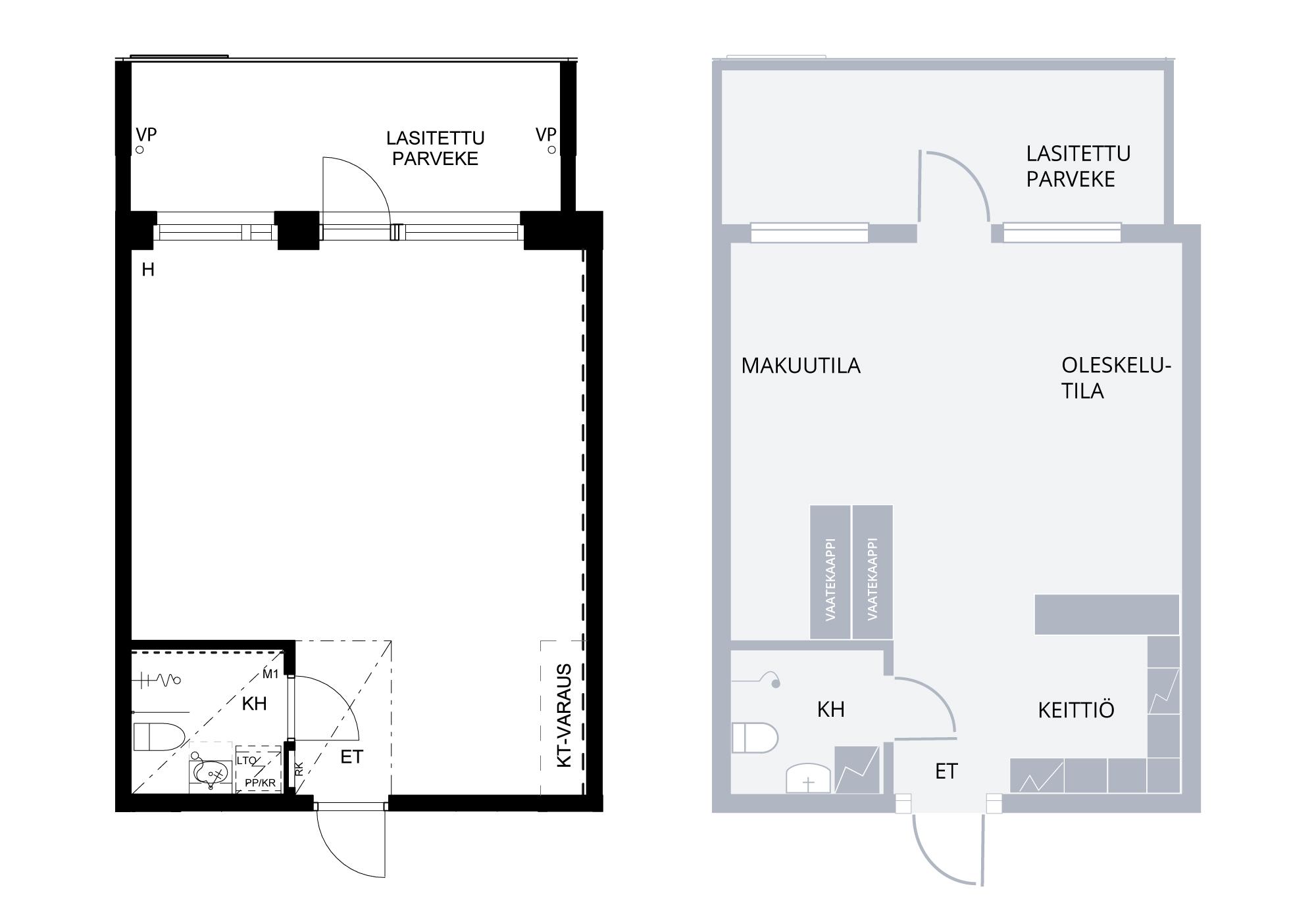 loft asunto pohjapiirrokset