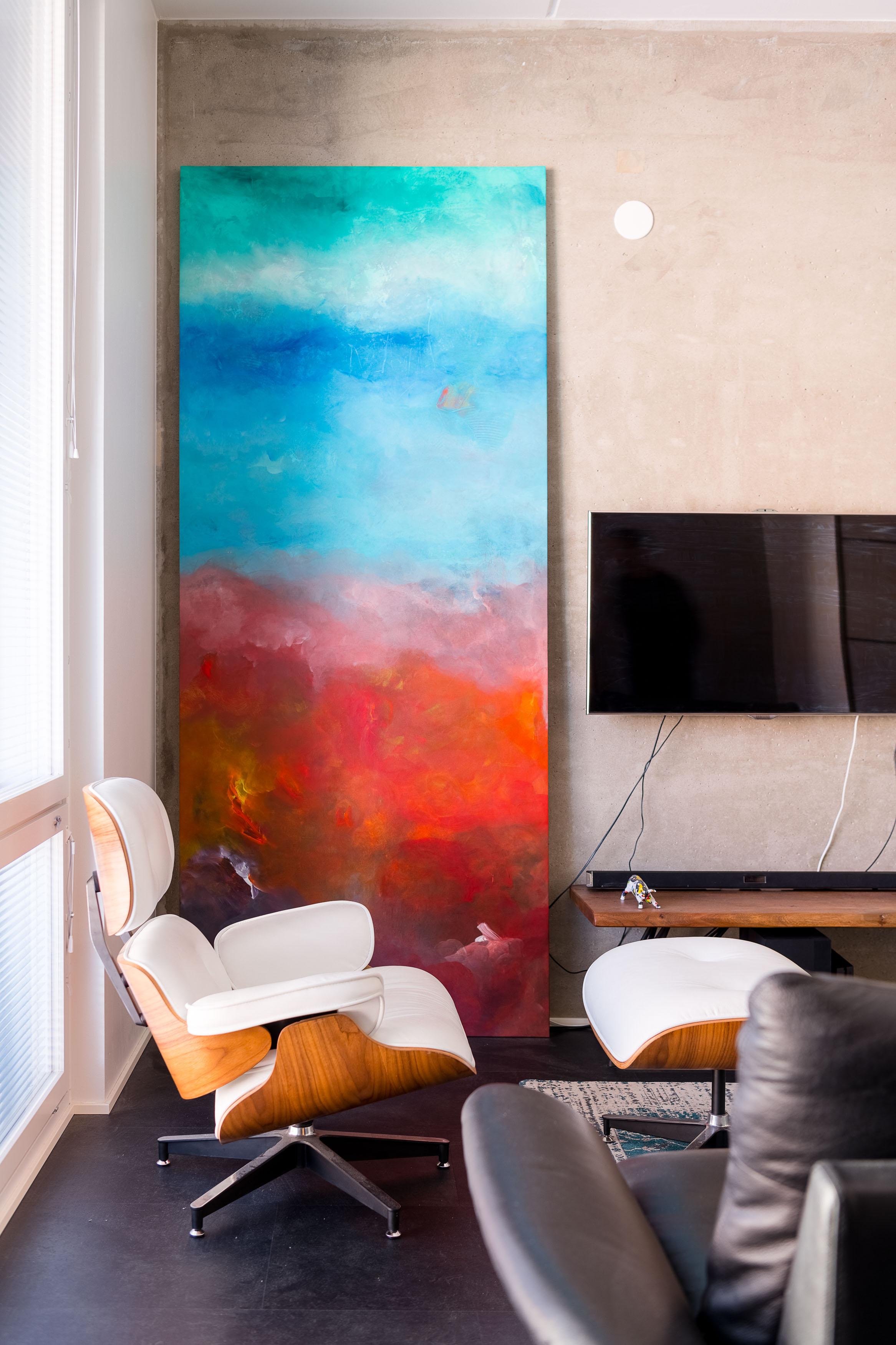 itämaista taidetta loft-asunnossa