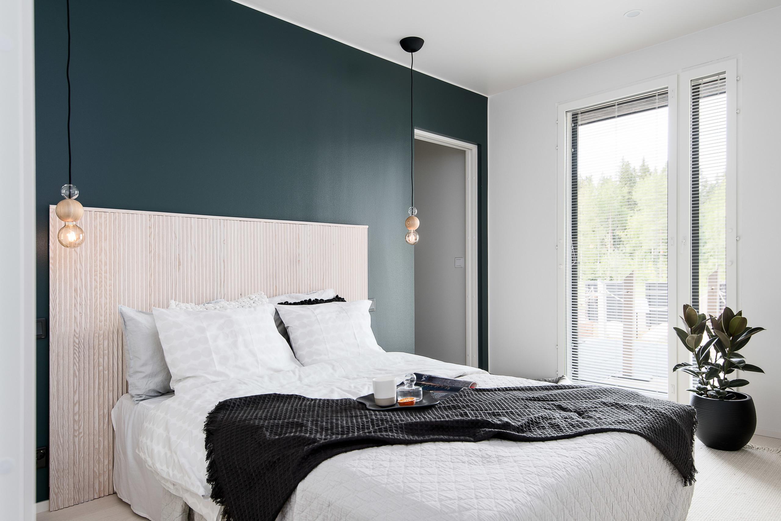 skandinaavinen makuuhuone dekolaku